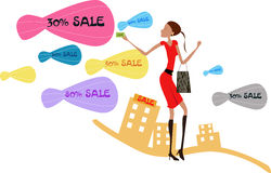 Shopping girl. Vector illustration of girl with shopping bags Stock Photos