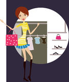 Shopping girl. Vector illustration of girl with shopping bags Royalty Free Stock Photography