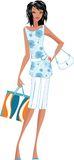 Shopping girl. Trendy woman with fancy dress and shopping bag Stock Image