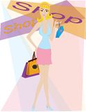 Shopping girl. Blond sexy girl shopping Royalty Free Stock Image