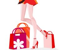 Shopping girl. Illustration of slim legs of a gorgeus woman with her shopping bags Royalty Free Stock Photos