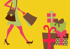 Shopping girl. Vector illustration of shopping girl. Includes shopping bags and present boxes Stock Image