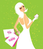 Shopping girl. With bags, vector illustration Royalty Free Stock Photography