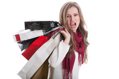 Shopping girl acting sexy and kinky Royalty Free Stock Image