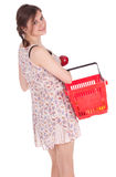 Shopping girl with apple Stock Photos