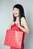 Shopping girl of Asian. Closeup portrait with clipping path Stock Photo