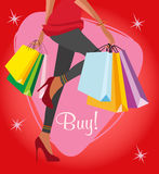 Shopping girl background Stock Photography