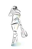 Shopping girl with bag Stock Images