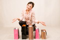 Shopping girl with bags Stock Images