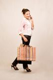Shopping girl with bags royalty free stock image