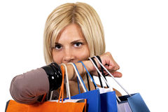 Shopping girl with bags Stock Photography