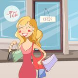 Shopping girl with bags Royalty Free Stock Images