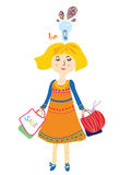 Shopping girl with bags and lightbulb Stock Image