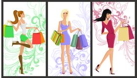 Shopping girl banner Stock Image
