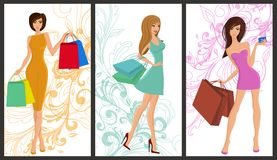 Shopping girl banner Royalty Free Stock Photos