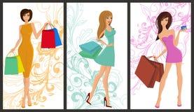 Shopping girl banner vector illustration