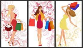 Shopping girl banner Royalty Free Stock Image