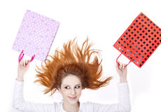 Shopping girl with boxes Royalty Free Stock Photography