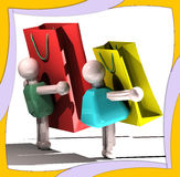 Shopping girl and boy. With red and yellow bags Stock Photography