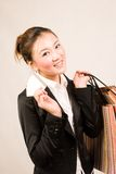 Shopping girl with card Stock Photography