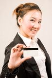 Shopping girl with card Royalty Free Stock Image