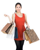 Shopping girl carry paper bag Stock Image