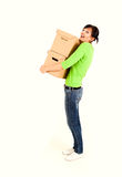 Shopping girl with carton boxes Stock Photo
