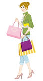 Shopping girl, Casual fashion Royalty Free Stock Photo
