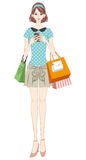 Shopping girl checking smart phone Stock Images