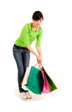 Shopping girl with colourful bags Royalty Free Stock Photo