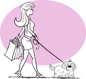 Shopping girl with dog in Black Royalty Free Stock Photos