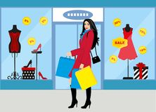 Shopping girl - fashionable girl with purchases for your design Royalty Free Stock Images