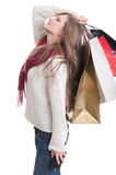Shopping girl feeling exhausted Royalty Free Stock Photography