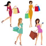 Shopping girl figures Royalty Free Stock Photos