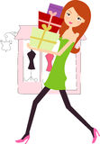 Shopping girl with gifts Stock Photos