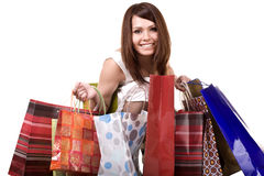 Shopping girl with group bag. Royalty Free Stock Photography