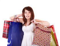 Shopping girl with group bag. Stock Images