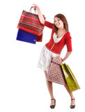 Shopping girl with group bag. Royalty Free Stock Image