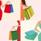 Shopping girl hand bag. Young females holding shopping bags in hands decorative elements set isolated vector illustration Stock Image