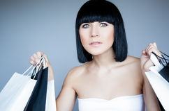 Shopping girl holding bags Royalty Free Stock Photo