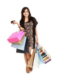 Shopping girl holding a phone Stock Photo