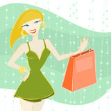 Shopping girl illustration  Royalty Free Stock Photo