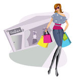 Shopping girl illustration Stock Photography
