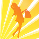Shopping girl illustration Stock Image