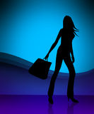 Shopping girl illustration Royalty Free Stock Images