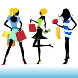 Shopping girl illustration Stock Photos