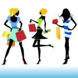 Shopping girl illustration stock photos