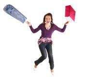 Shopping girl jump Royalty Free Stock Photo