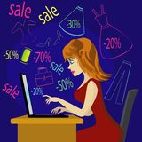 Shopping girl with laptop Stock Photography