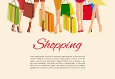 Shopping girl legs poster. Young sexy  girls slim legs and with fashion bags shopping poster vector illustration Stock Photos